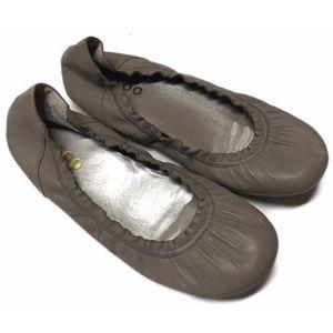 Me Too Dove Gray Leather Ballet Flats Shoes SZ 6M